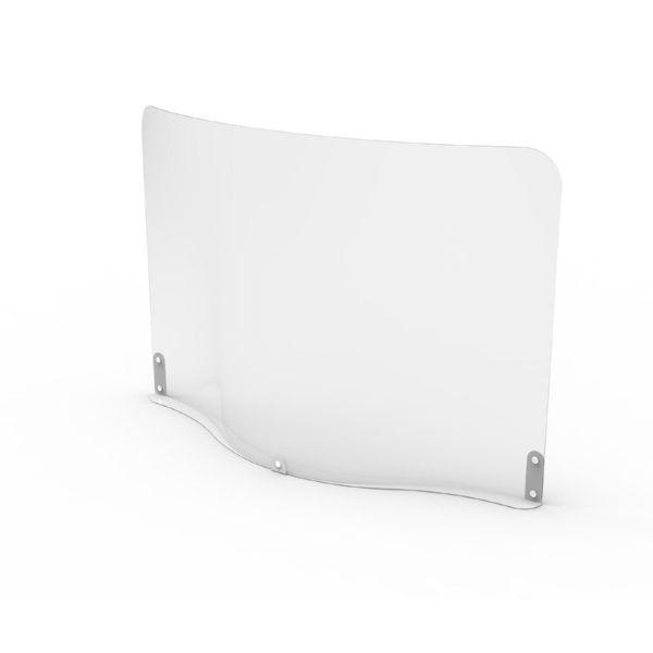Mampara horizontal de cuerpo de plástico flexible (PET) con base metálica y grosor de 1 mm.Medidas: 700 ancho x 481 alto x 125 fondo (mm)